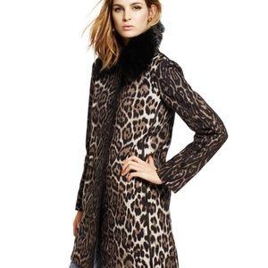 Juicy Couture Wool Leopard Print Faux Fur Coat